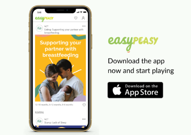 EasyPeasy parenting app on an iPhone screen