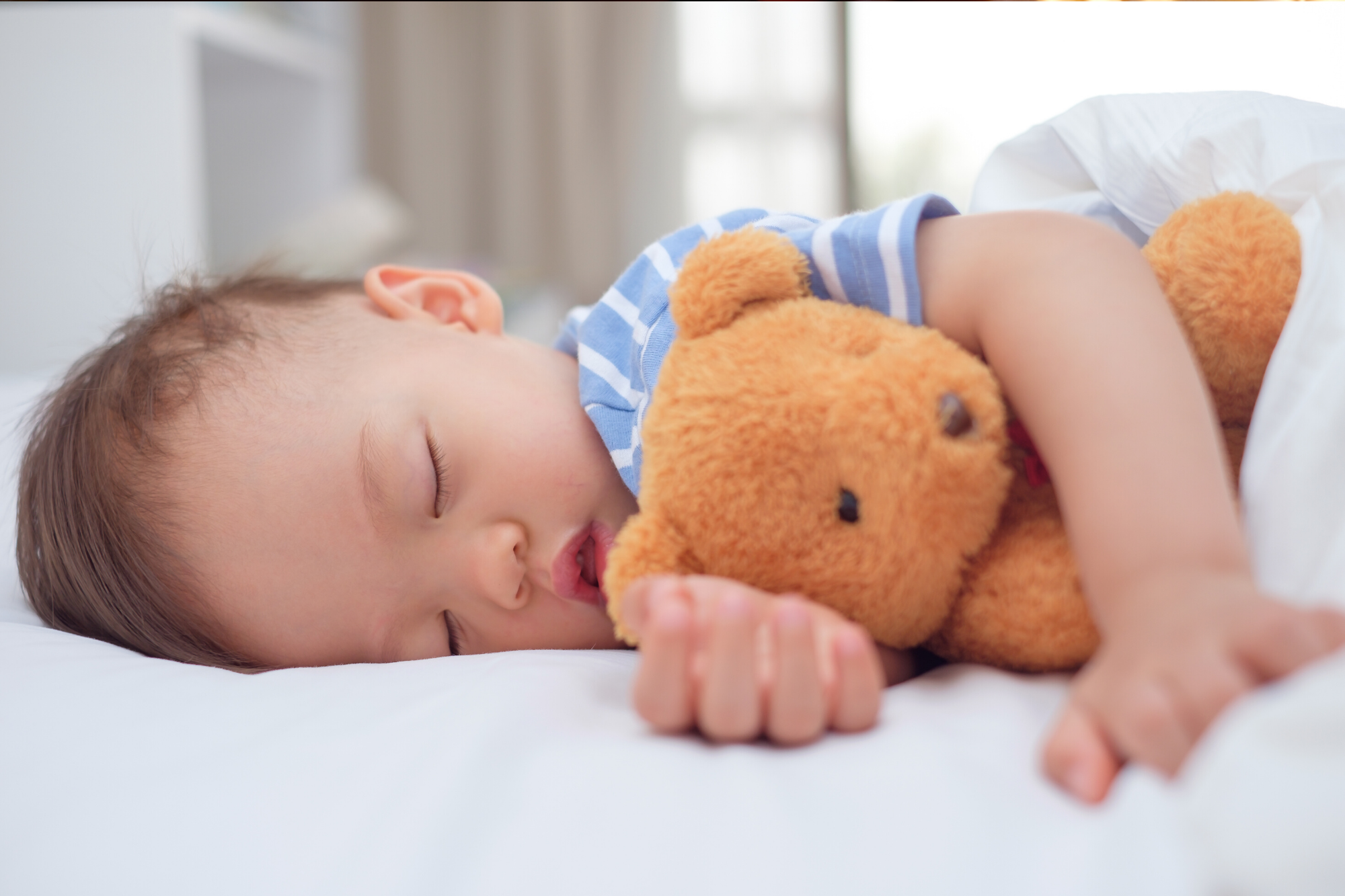Child not experiencing sleep regressions, sleeping soundly in his bed while holding his teddy bear