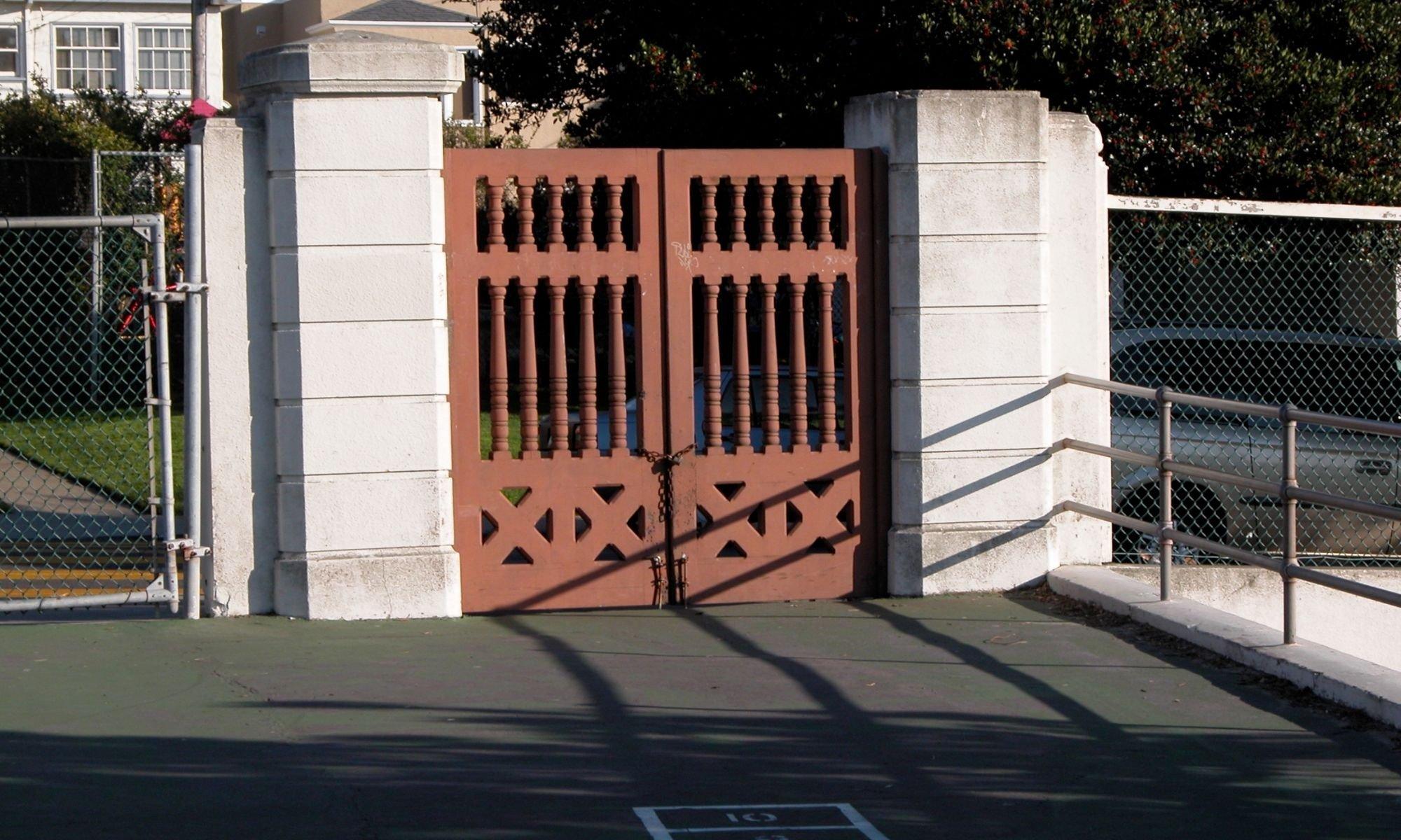 Closed gates of a nursery school