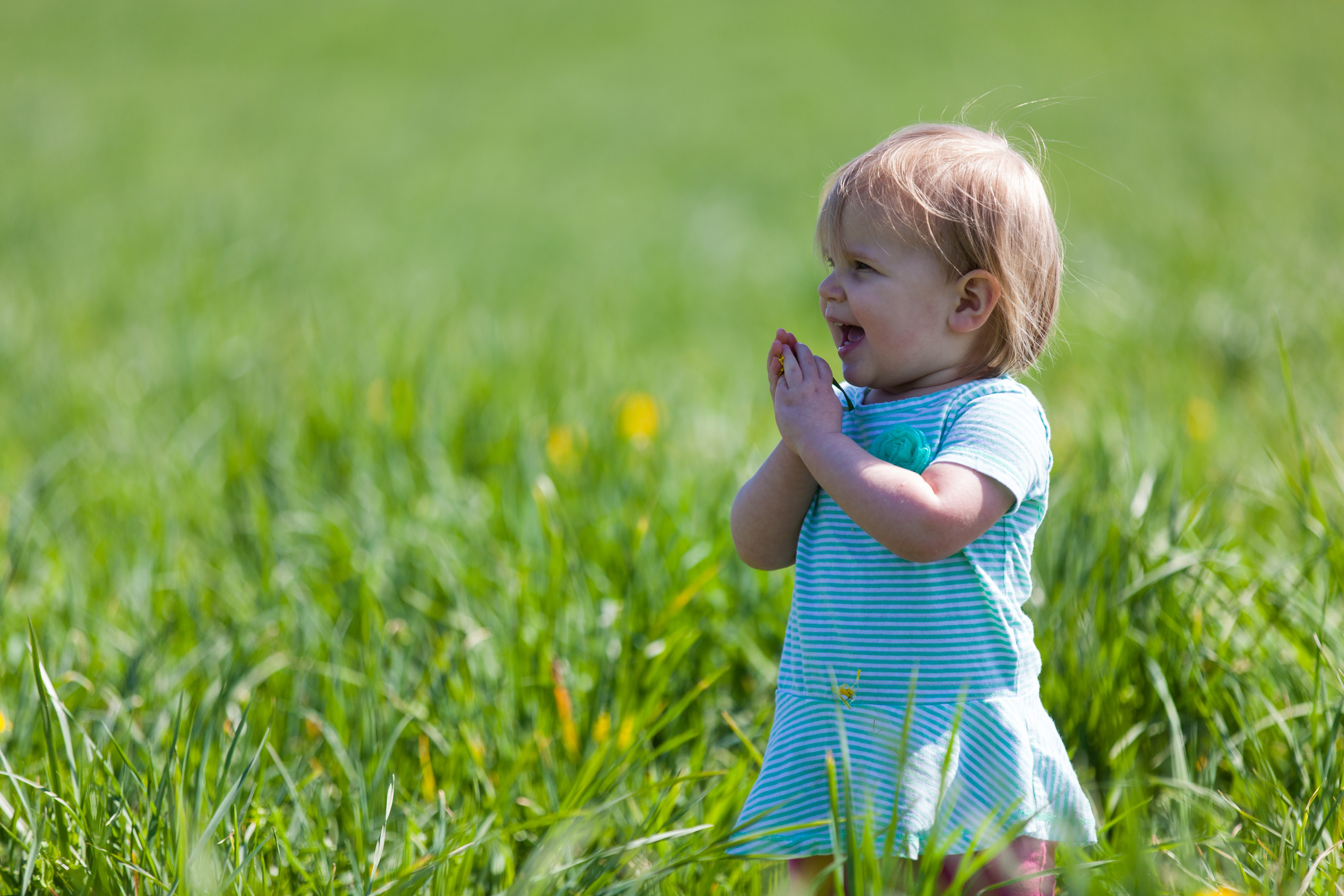 Happy toddler outdoors surrounded by grass