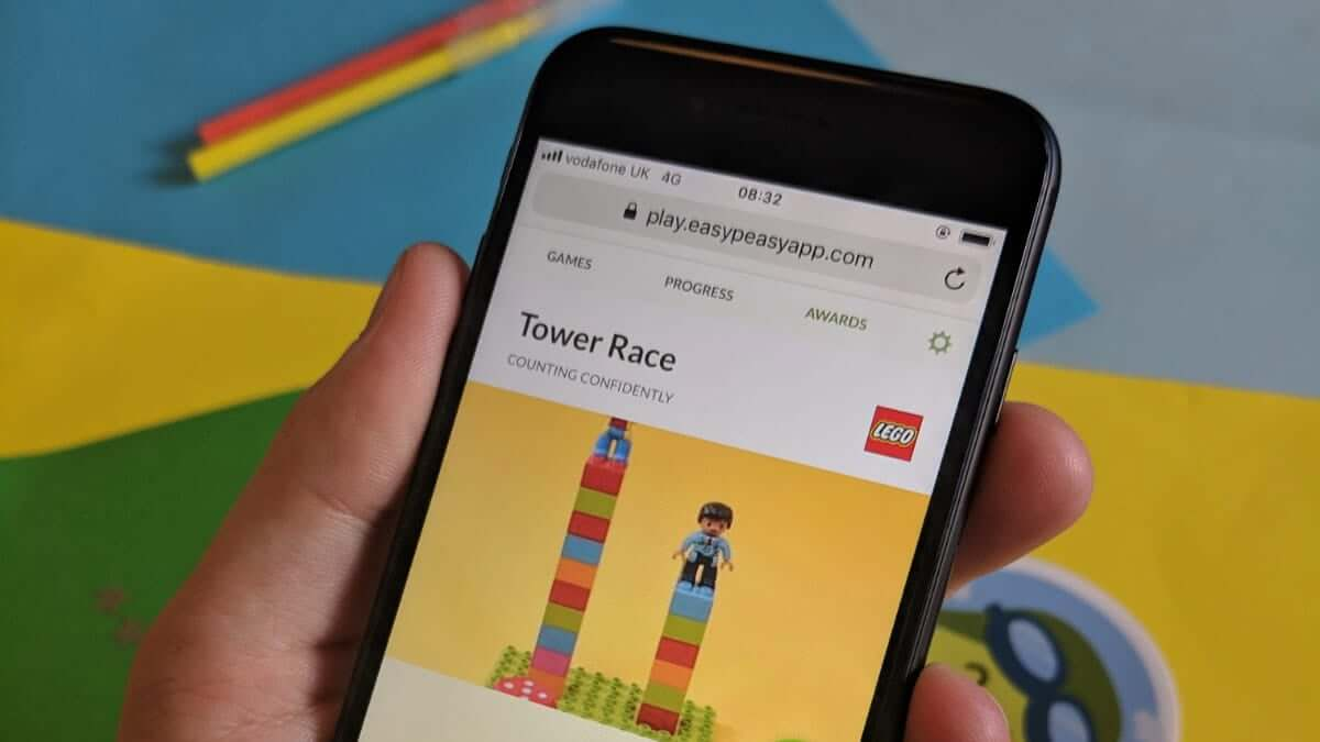 Parent viewing the LEGO Tower Race game on the EasyPeasy web app