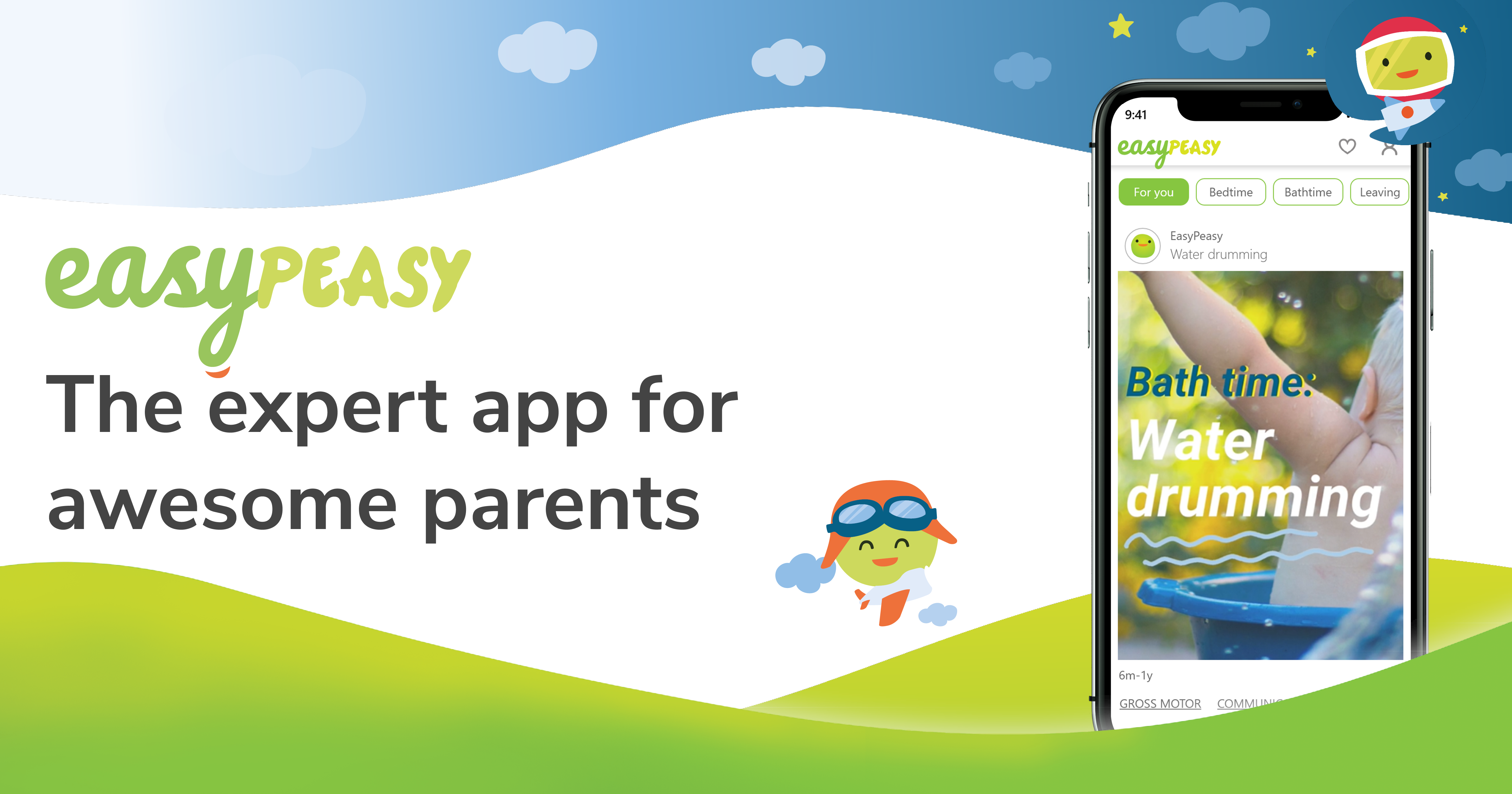 EasyPeasy App for parents on an iPhone with EasyPeasy graphics behind the phone