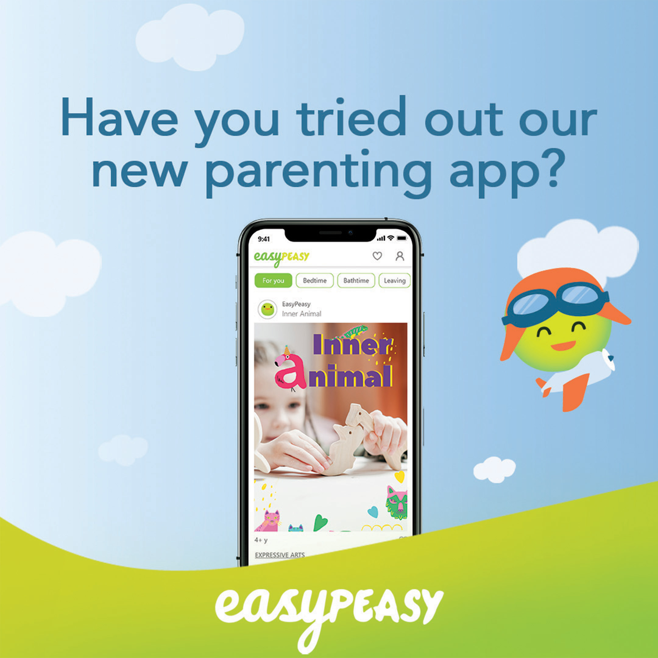 EasyPeasy mobile app displayed on a background with green hills, and blue sky inviting parents to give feedback on our iOS app